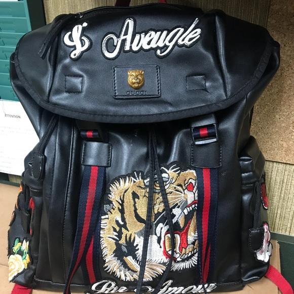 b8e8623929c769 Gucci Bags | Vintage Tiger Embroidery Backback | Poshmark